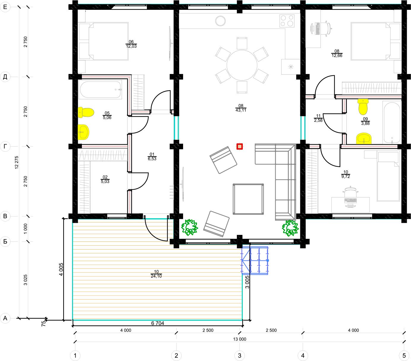 План первого этажа Bonn 1.1 (Дом Бонн)