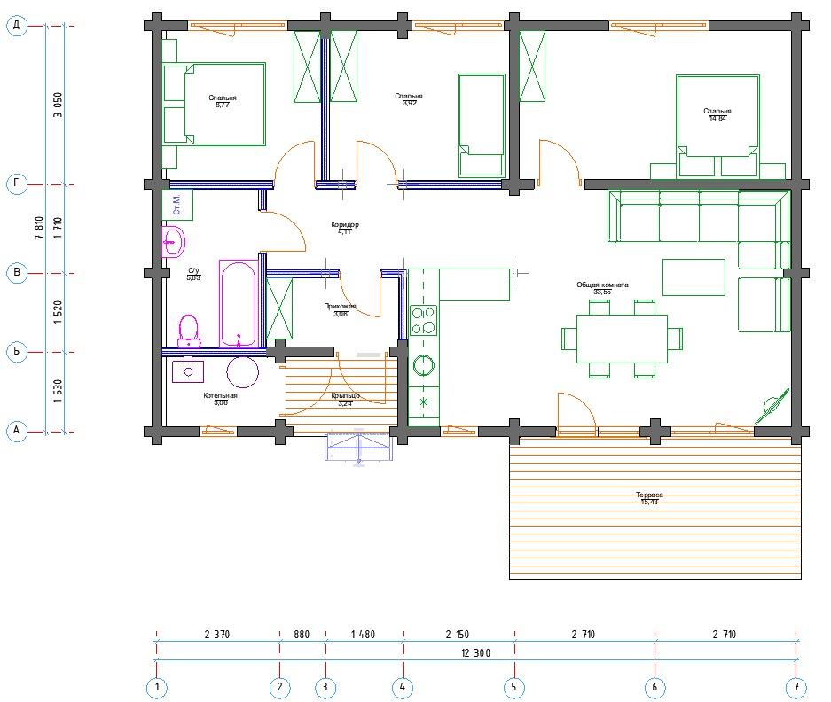 План первого этажа Dortmund 1.1 (Дом Дортмунд с террасой)