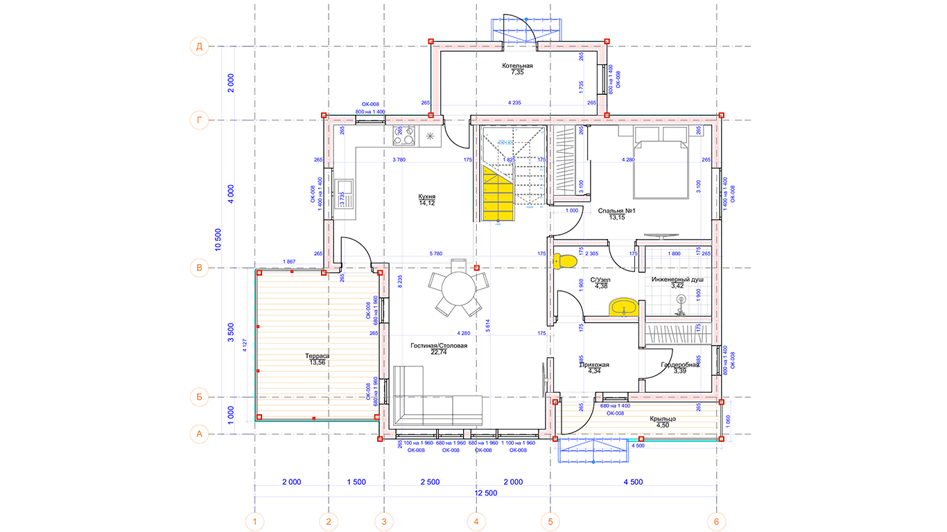 План первого этажа Hannover Rahmenhaus (Каркасный дом Ганновер)