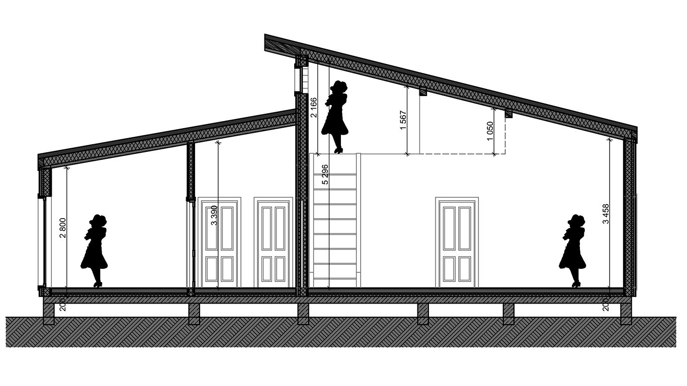 Разрез Lindau Rahmenhaus (Каркасный дом Линдау)