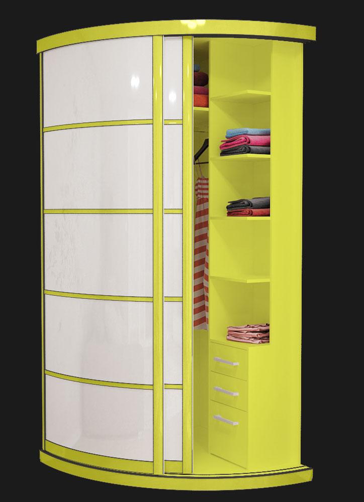 Выгнутый радиусный шкаф M-1 Лайм