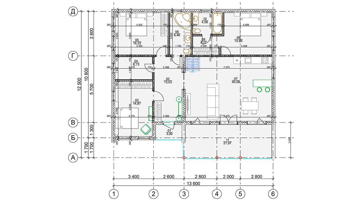 План первого этажа Lindau Rahmenhaus (Каркасный дом Линдау)