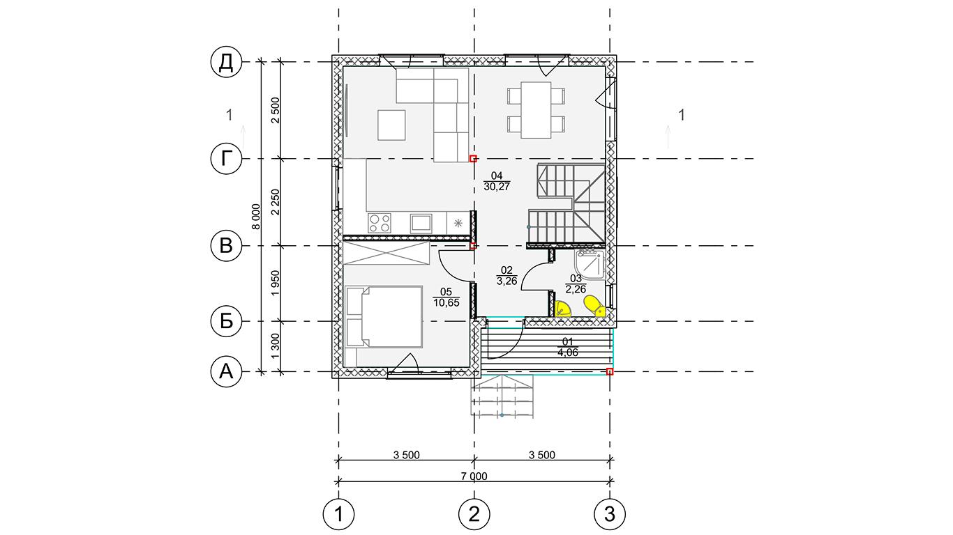 План первого этажа Koln 1.0 Rahmenhaus (Каркасный дом Кельн 1.0)