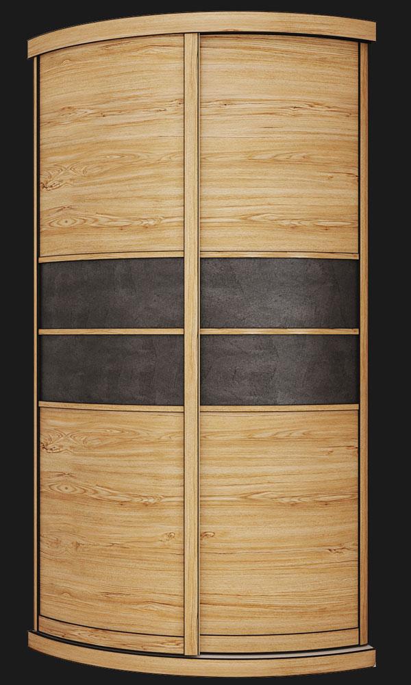 Выгнутый радиусный шкаф M-3 Красное дерево + Камень