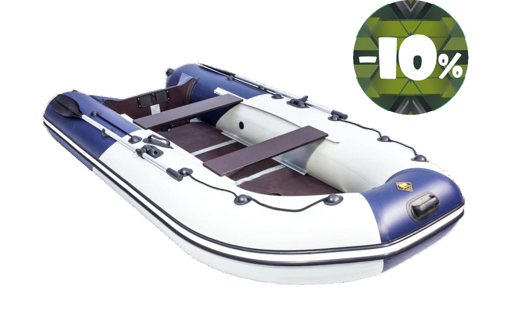 Лодка РИВЬЕРА-3200 СК КОМБИ черная-светло-серая