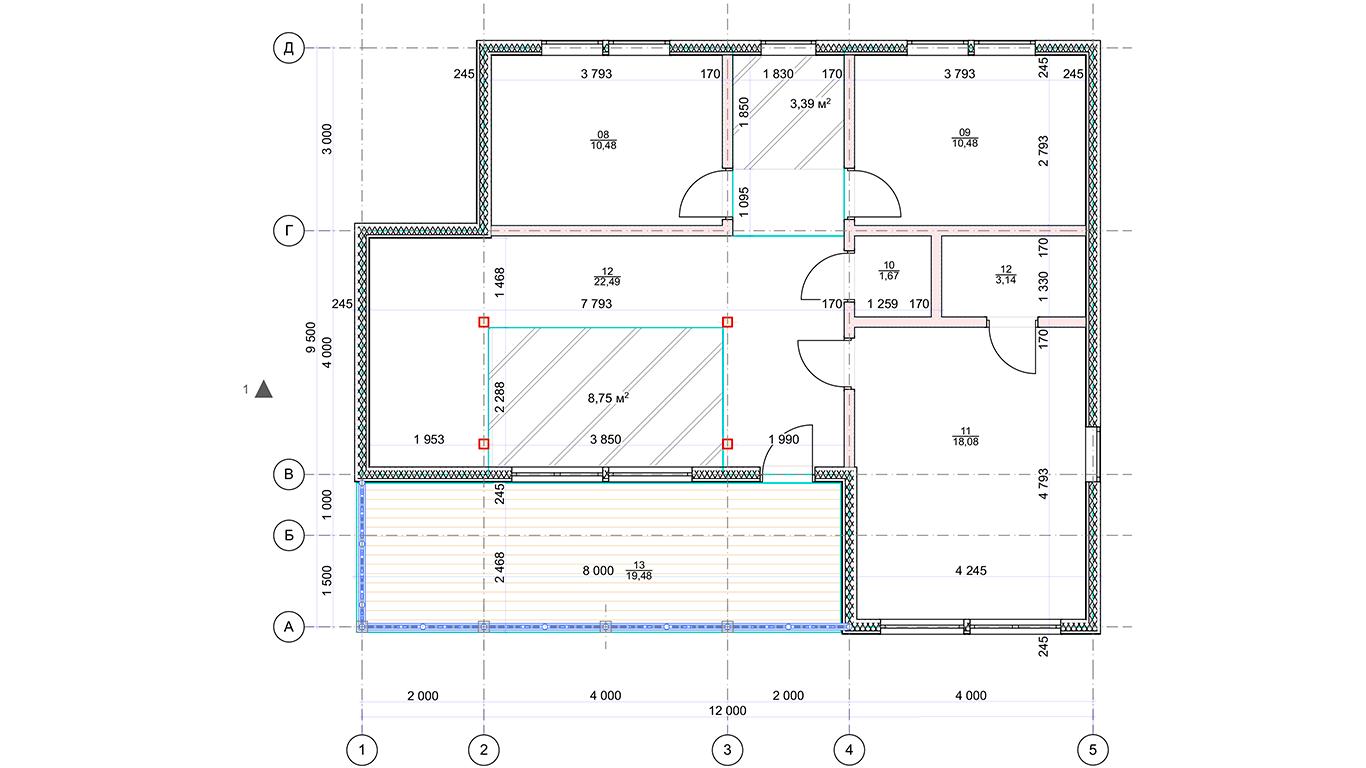 План второго этажа Lebus Rahmenhaus (Каркасный дом Лебус)
