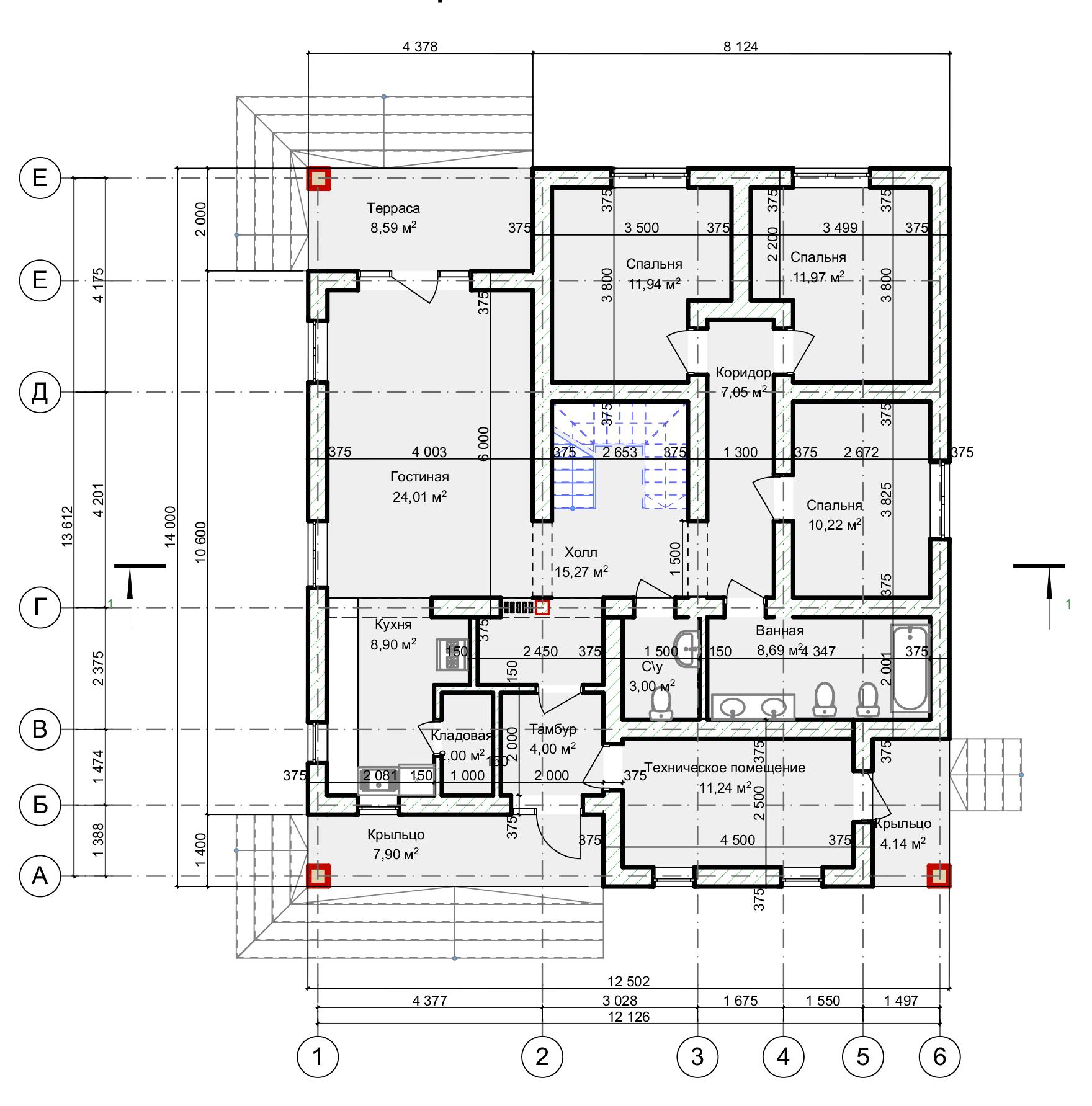 План первого этажа Hannover Langen (Дом Ланген)