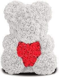 Мишка из роз белый