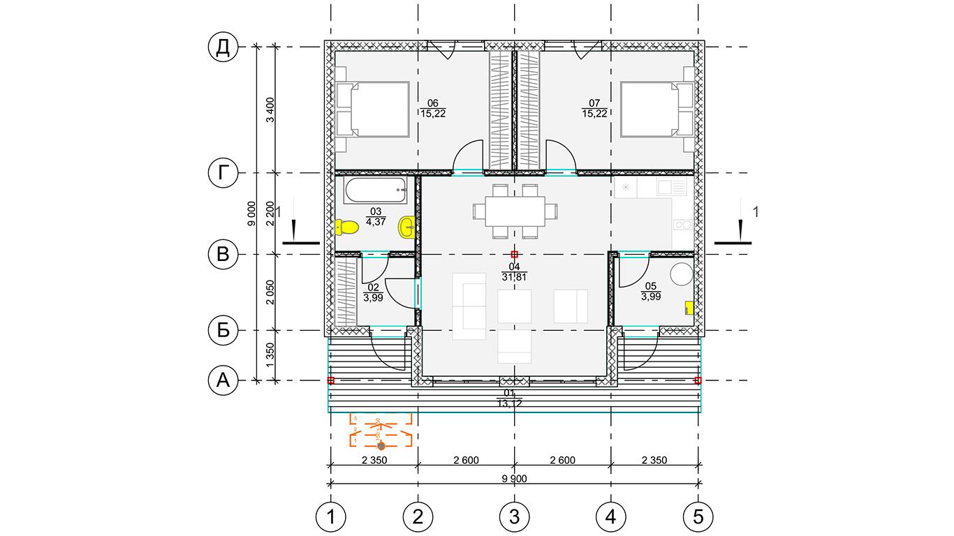 План первого этажа Frunkfurt 1et Rahmenhaus (Каркасный дом Франкфурт 1эт)