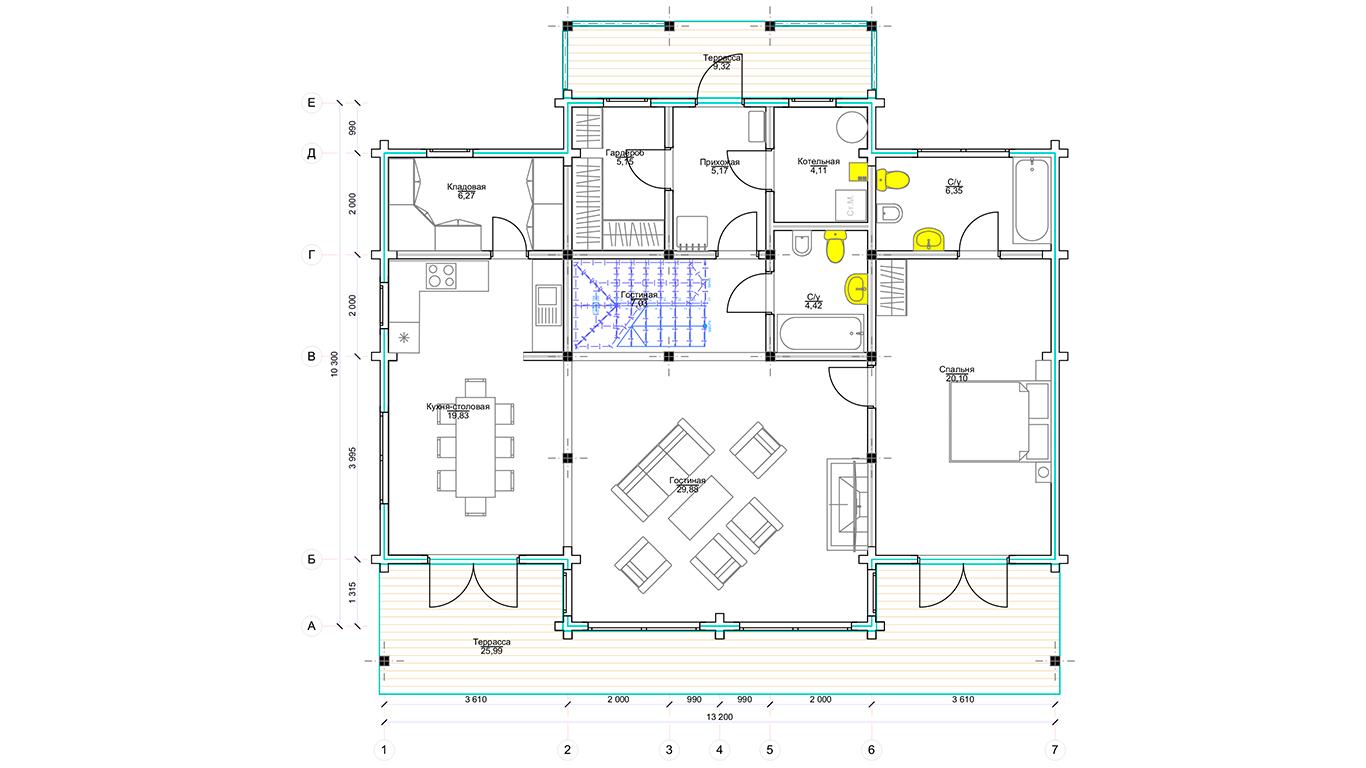 План первого этажа Düsseldorf (Дом Дюссельдорф)
