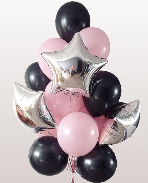 Шары розовые с черным