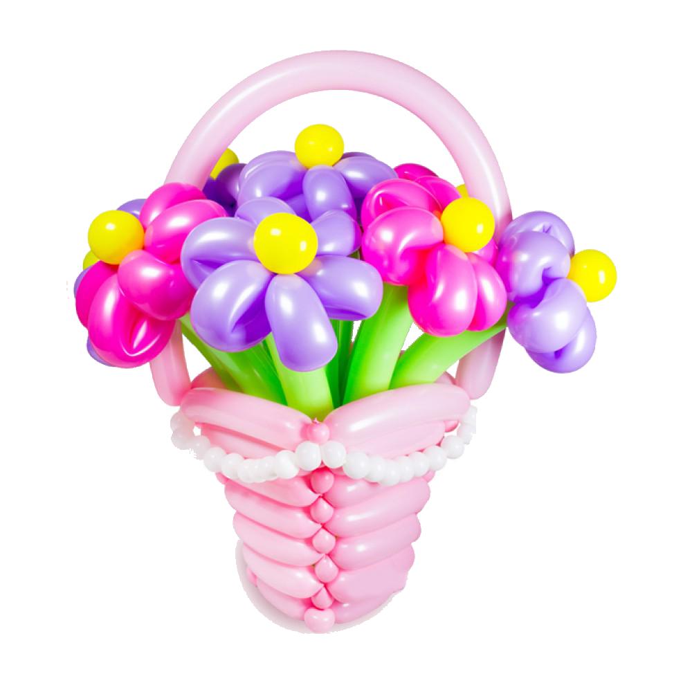 Корзина из шаров с 5 цветами
