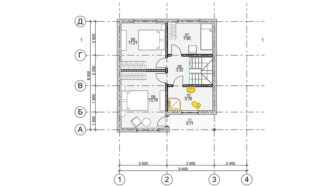 План второго этажа Koln 1.1 Rahmenhaus (Каркасный дом Кельн 1.1)