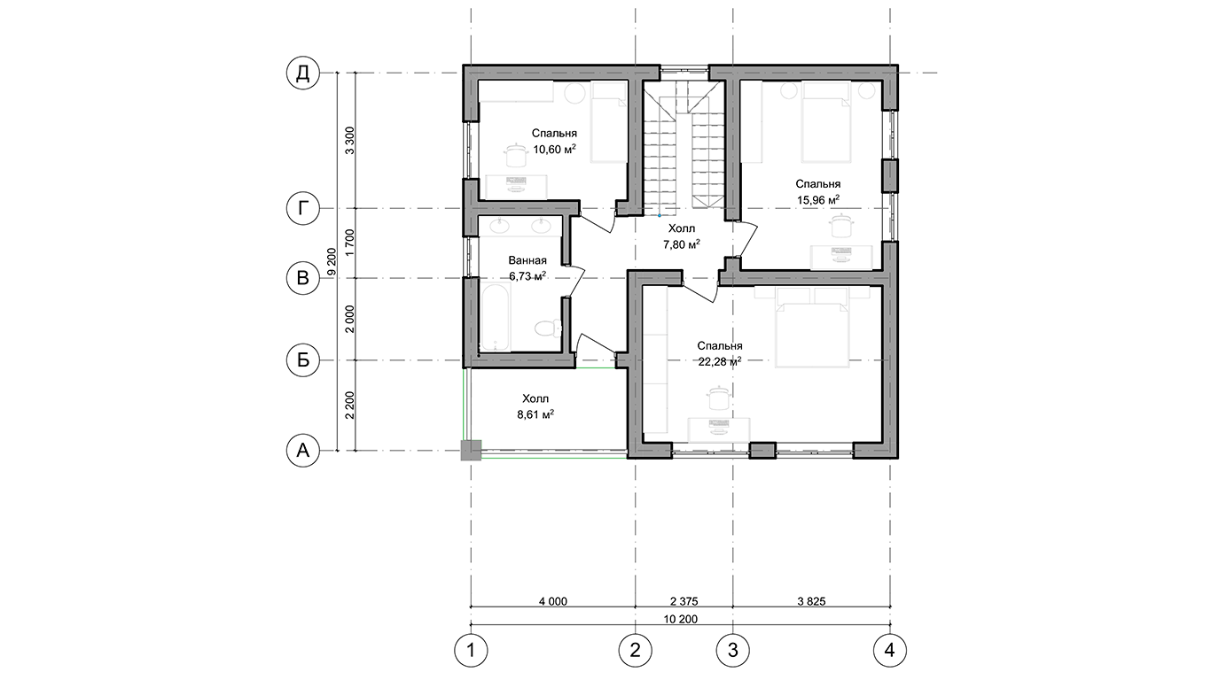 План второго этажа Wolfsburg 2.0  (Дом Вольфсбург)