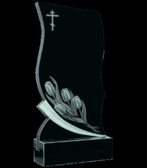 Памятник из гранита формы непрямой формы с тюльпанами