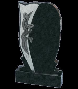Памятник из гранита комбинированной формы с тюльпанами
