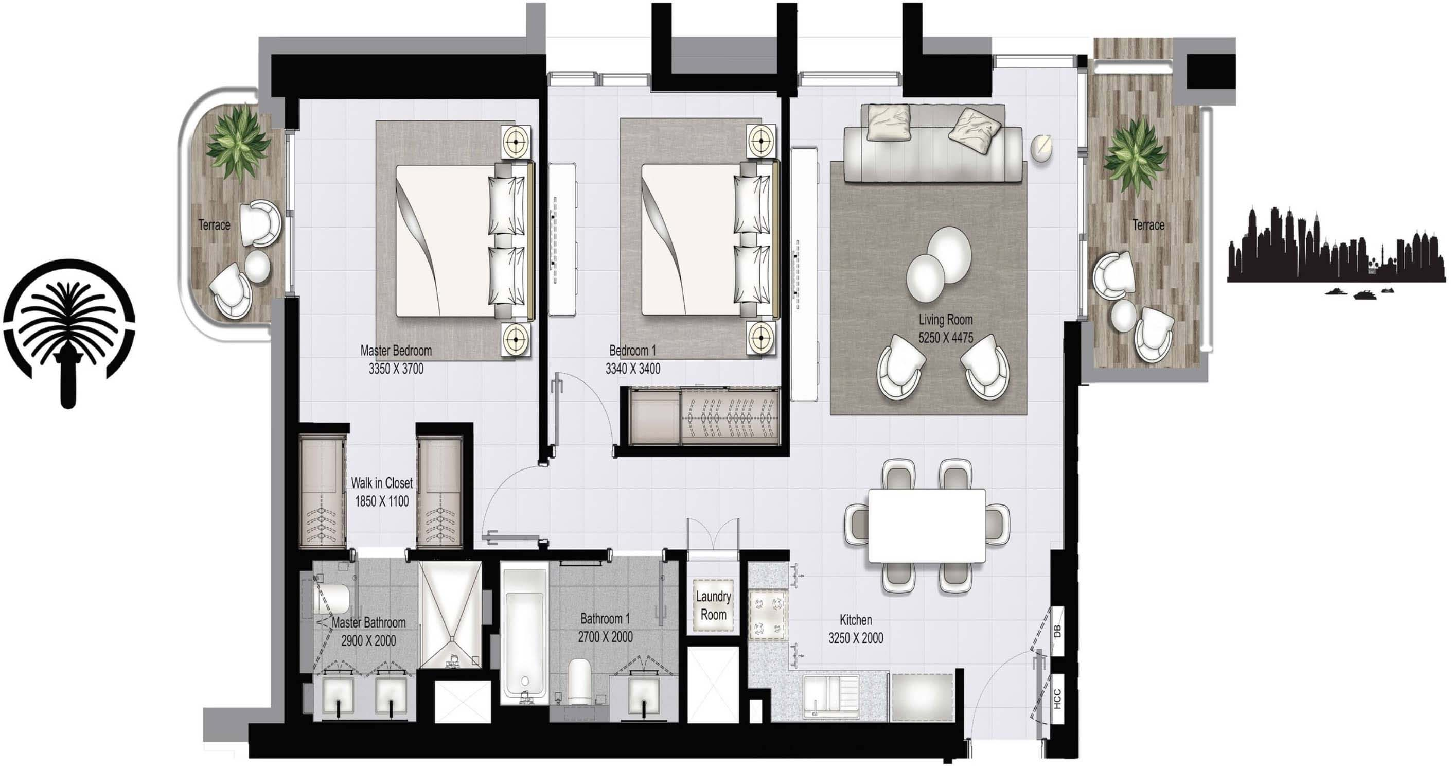 Emaar Beachfront Marina Vista Apartments Floor Plans