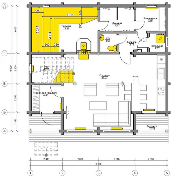 План первого этажа Frankfurt BAN 1.0 (Баня Франкфурт)