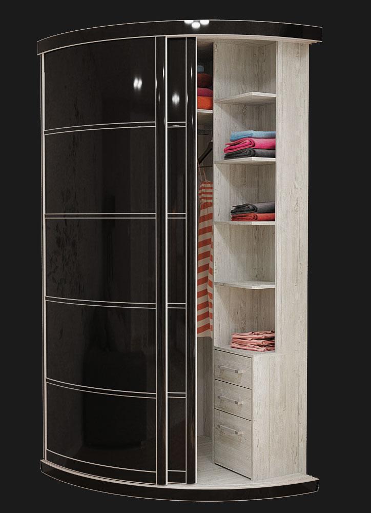 Выгнутый радиусный шкаф M-1 Черный глянец