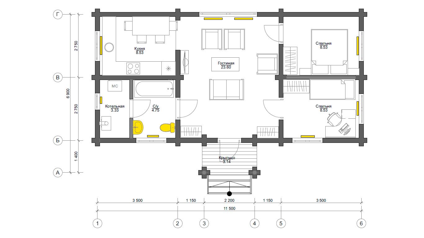 План первого этажа Ettal (Дом Этталь)