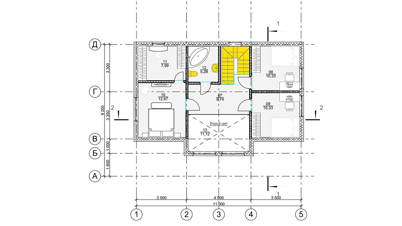 План второго этажа Leipzig Rahmenhaus  (Каркасный дом Лейпциг)