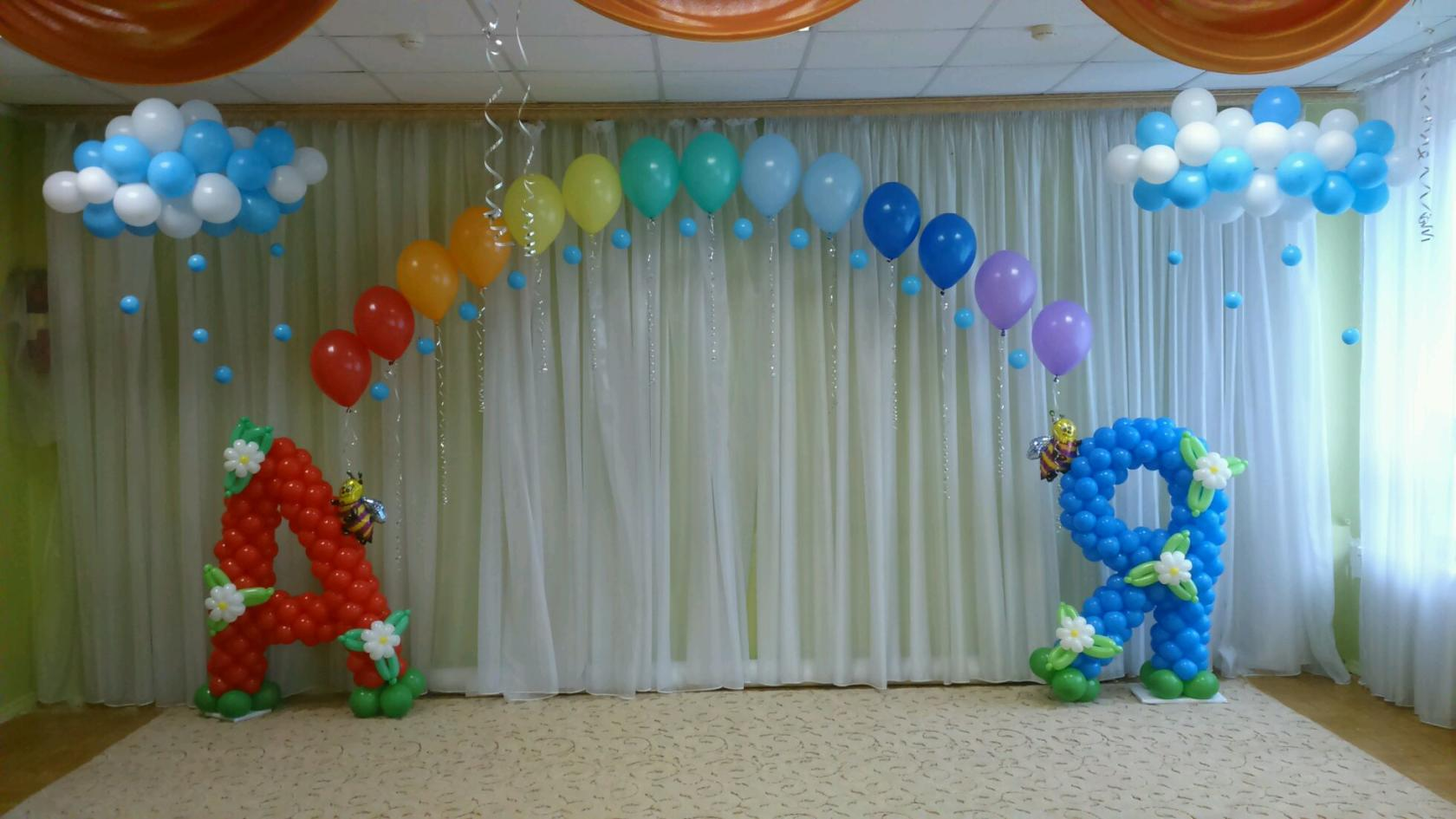Оформление шариками зала в детском саду