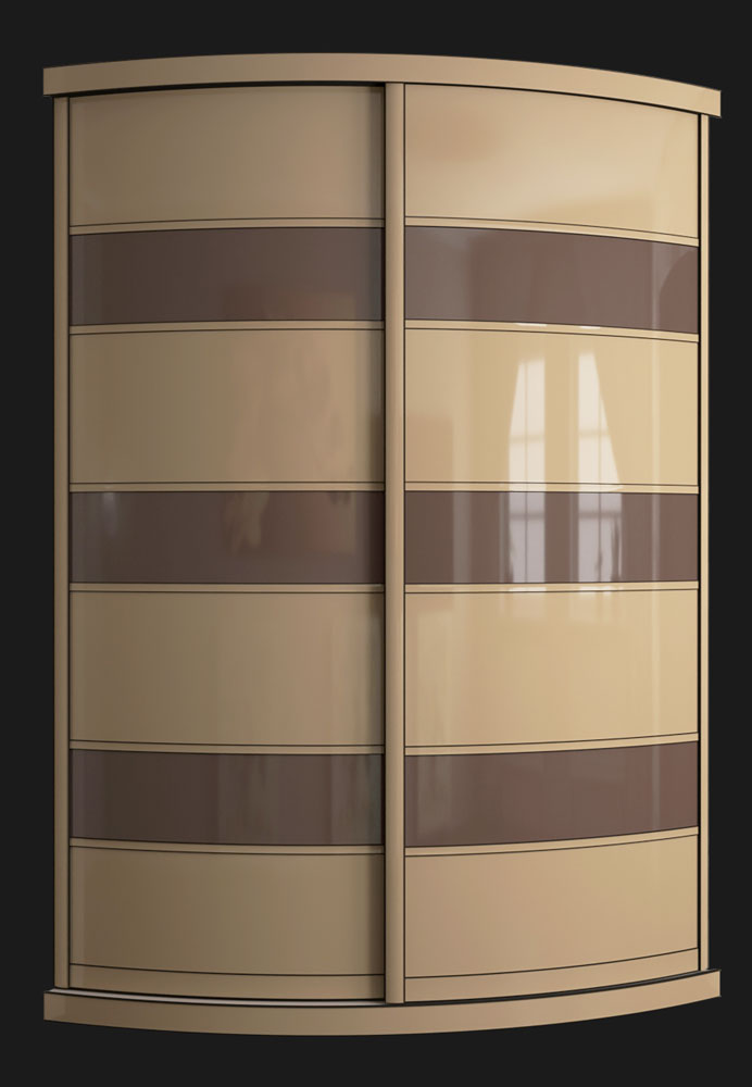 Выгнутый радиусный шкаф M-4 латте и какао