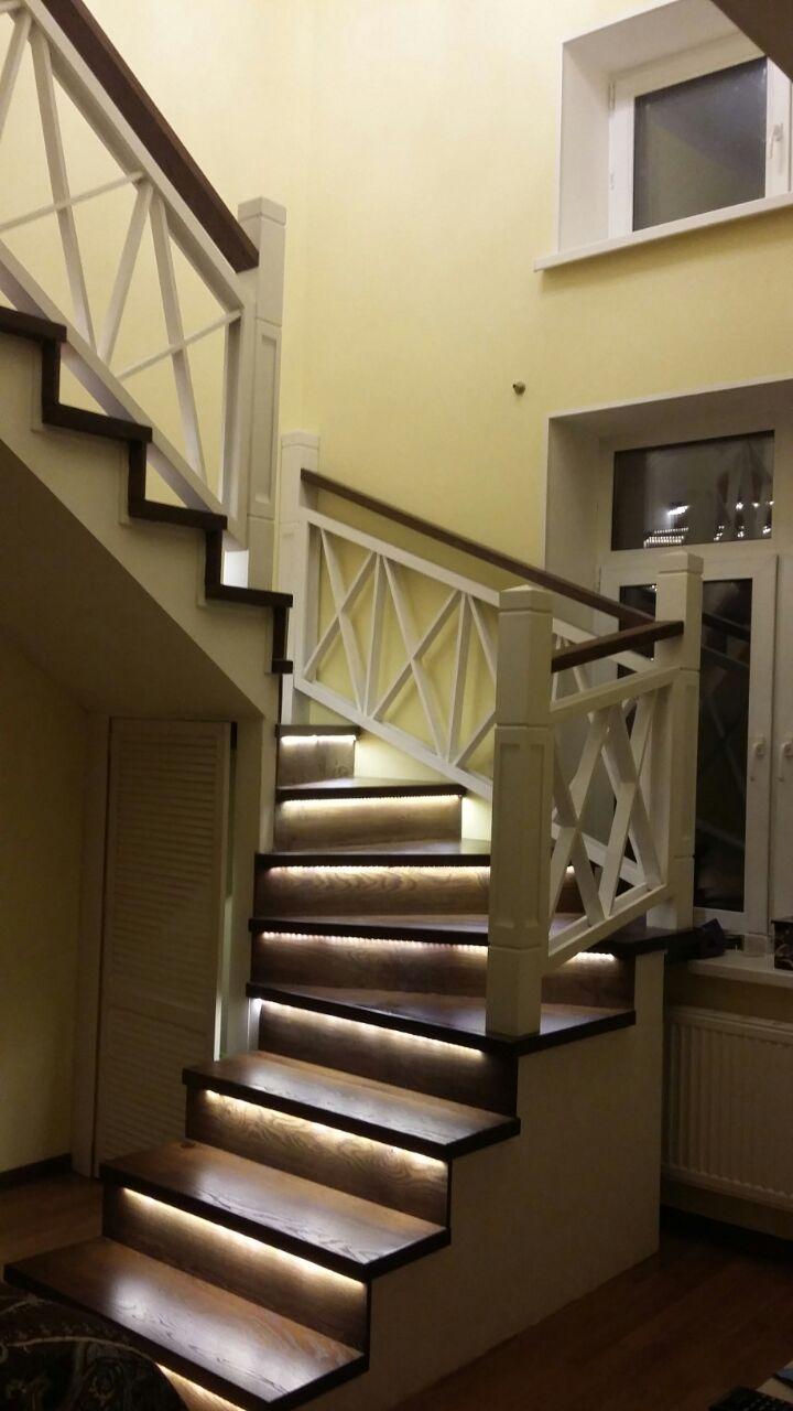 ступени из сосны, перила, лестница,