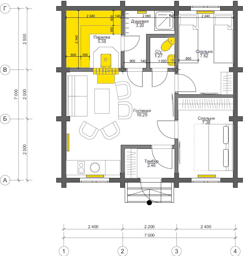План первого этажа Dresden BAN (Баня Дрезден)
