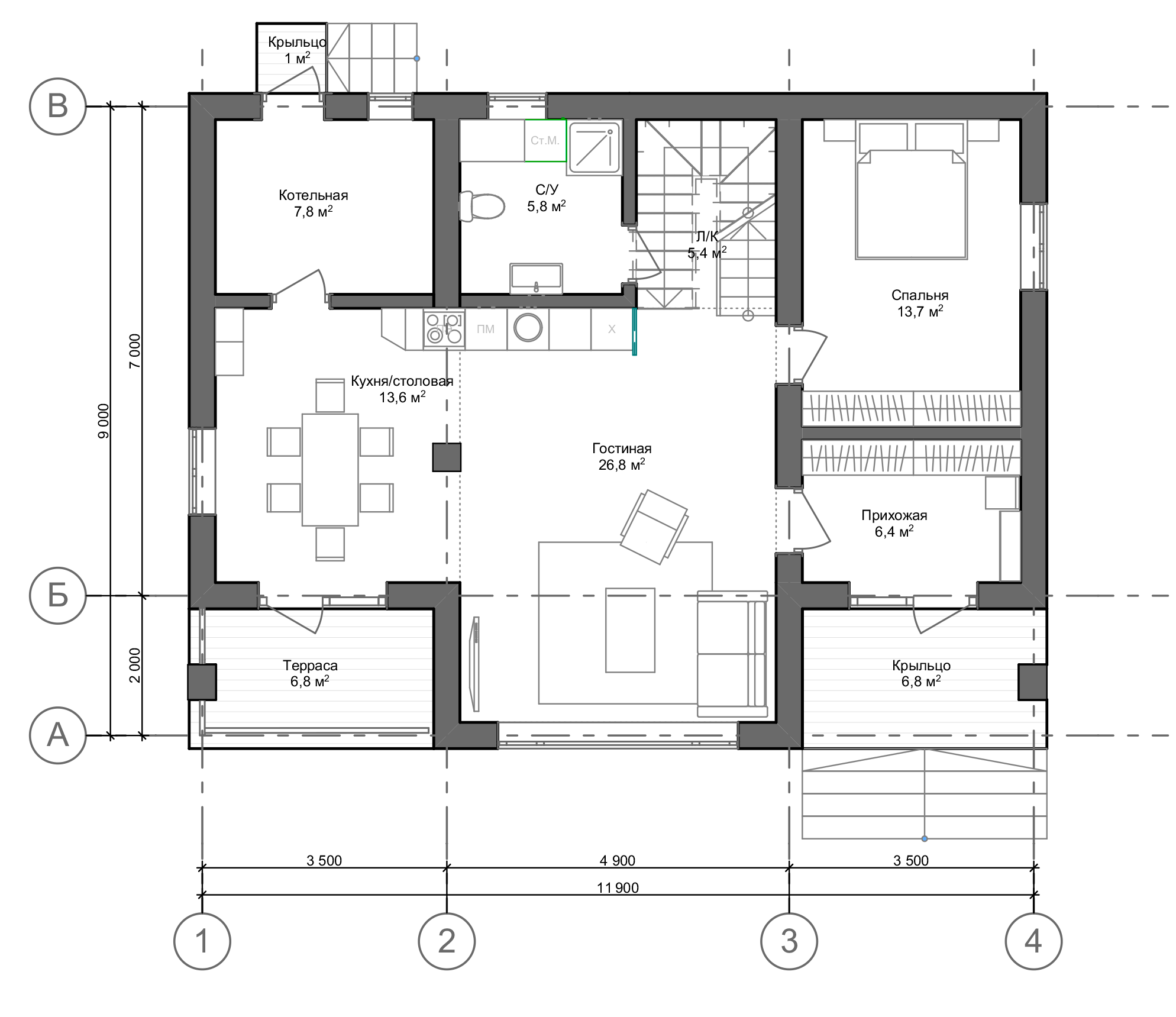 План первого этажа Hannover 2.0  (Дом Ганновер)