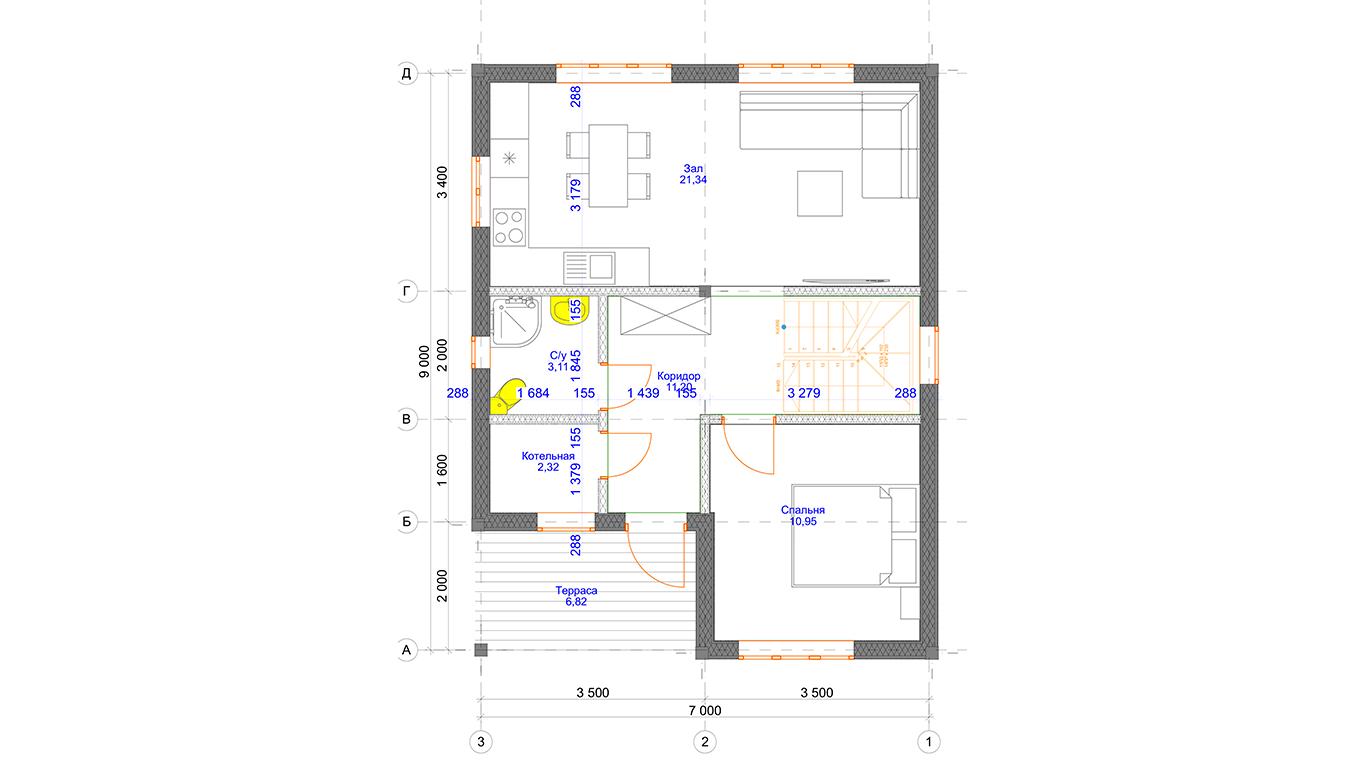 План первого этажа Magdeburg Rahmenhaus (Каркасный дом Магдебург)
