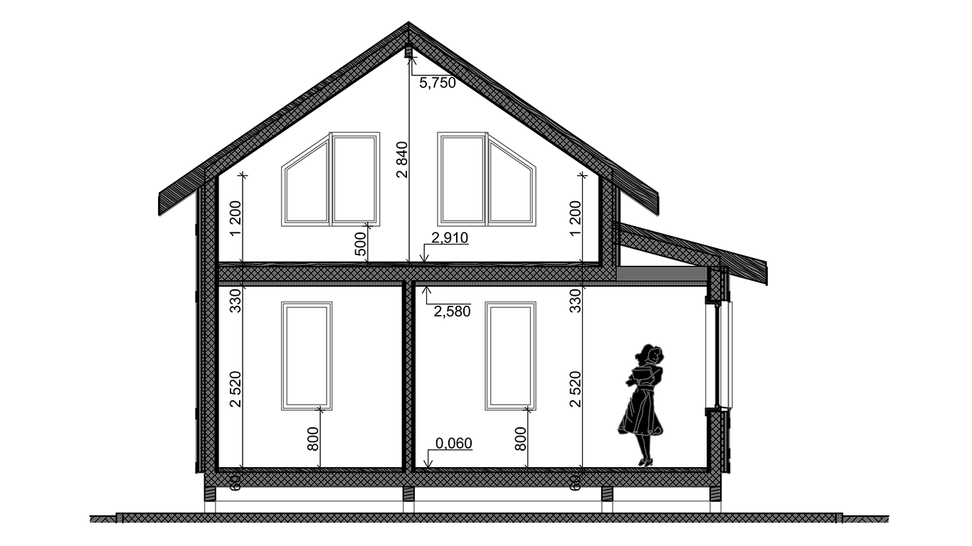Разрез Osterburg Rahmenhaus (Каркасный дом Остерберг)