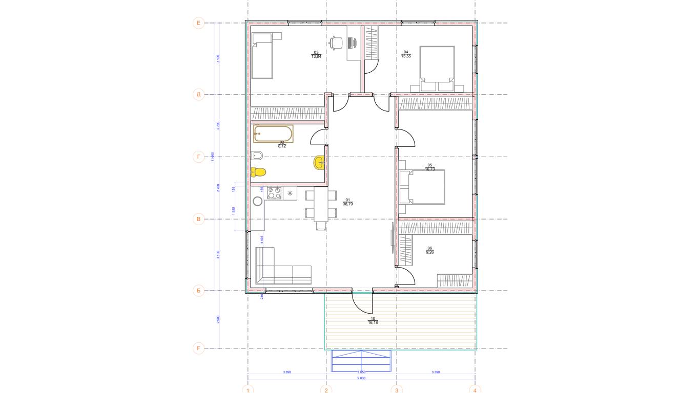 План первого этажа Buttel Rahmenhaus (Каркасный дом Буттель)