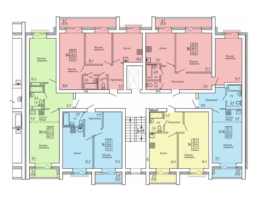 План 2-4 этажа ЖК Свобода дом №10 фото