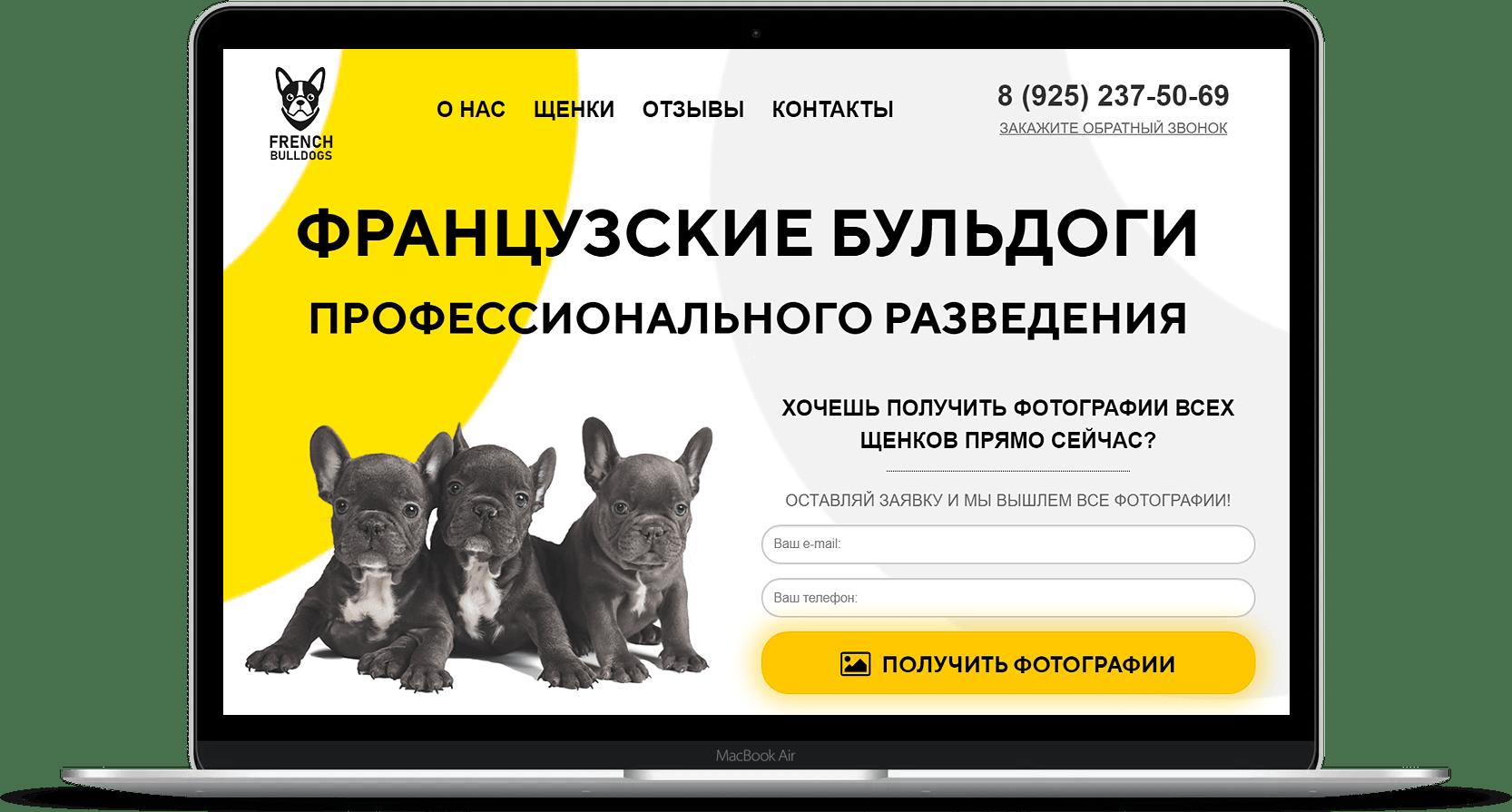 Сайт по продаже щенков