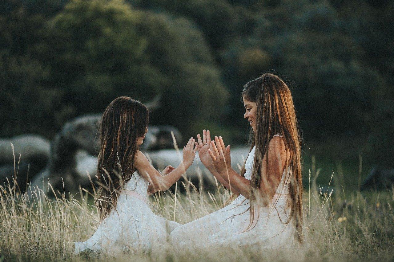 две девочки на поле играют