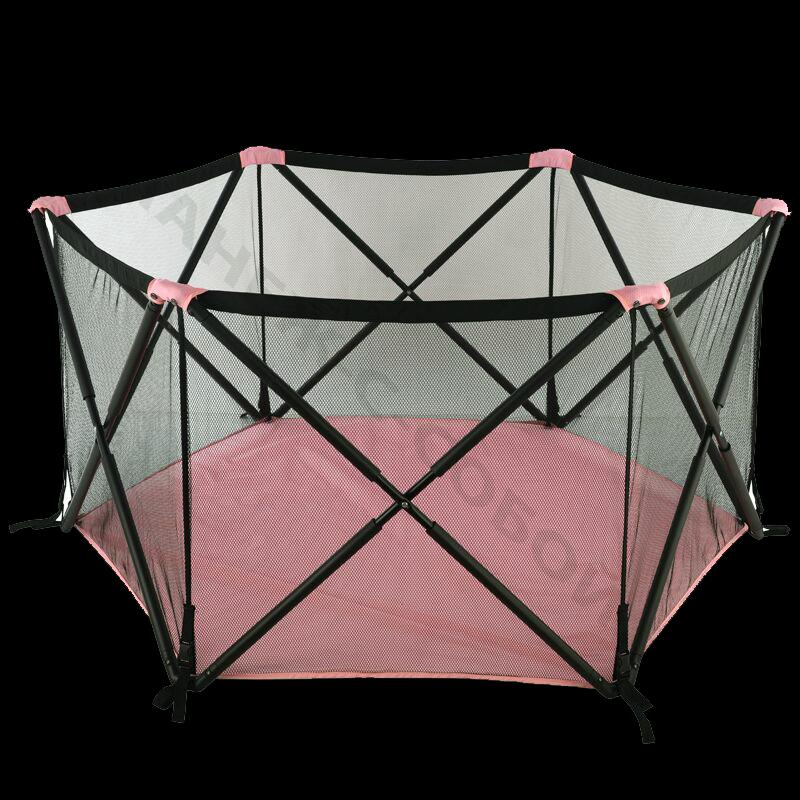 Манеж трансформер Хиппа розовый имеет 6 граней, очень компактный и мало весит всего 6 кг