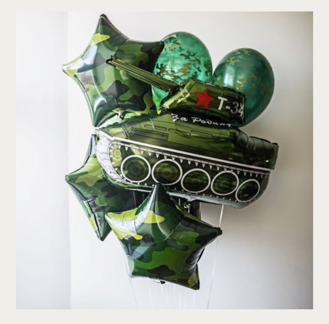 Фонтан из шаров на 23 февраля №10