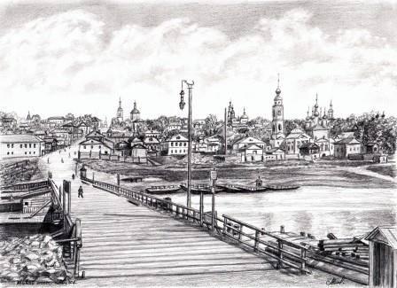 Живой мост. Вид на Калугу из-за Оки.