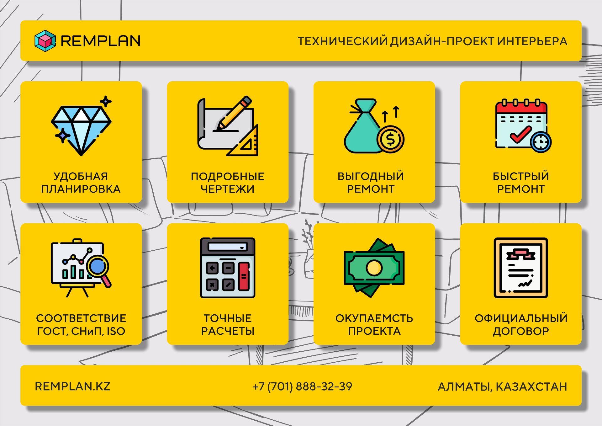 Технический дизайн интерьера Алматы. Технический проект ремонта Алматы. Дизайн интерьера Алматы.