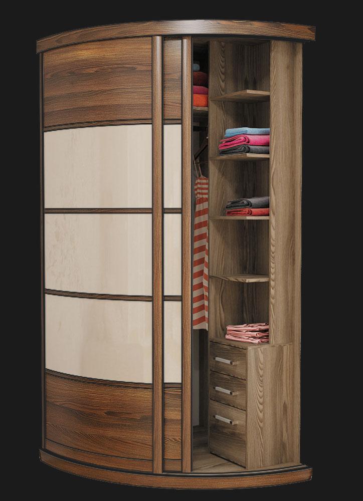 Выгнутый радиусный шкаф M-1 Крем глянец и Красное дерево 2