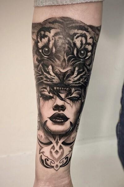Татуировка тигра , тату студия в новосибирске