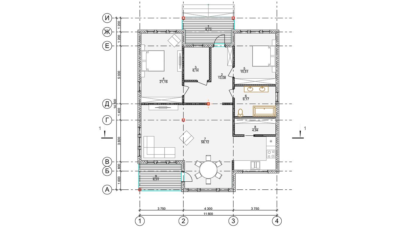 План первого этажа Nesse Rahmenhaus (Каркасный дом Гессе)