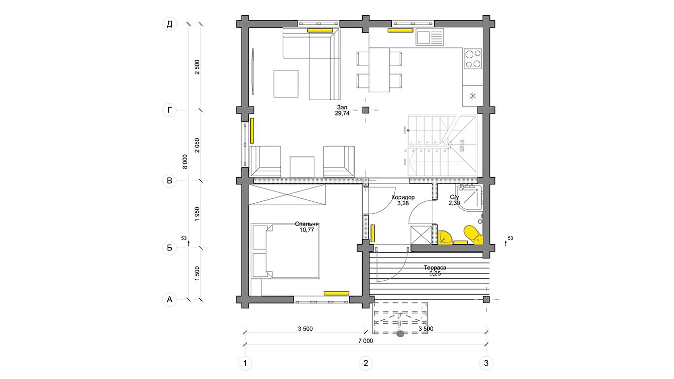 План первого этажа Köln 1.0 (Дом Кельн)