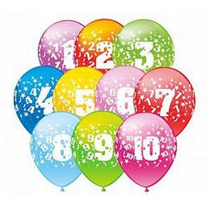Гелиевые шарики с цифрами от 0 до 9