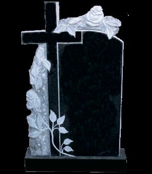 Гранитный памятник с крестом и розами