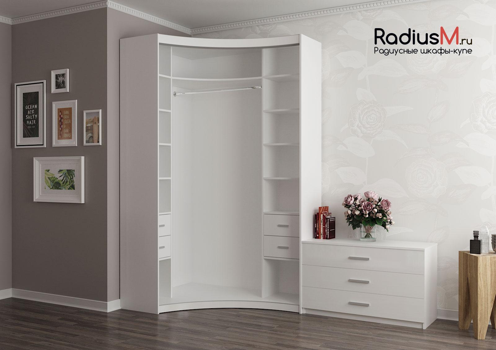 Белый+кожа радиусный шкаф