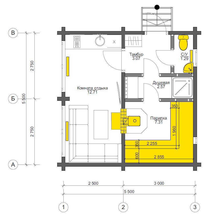 План первого этажа Freiborg BAN (Баня Фрайбург)