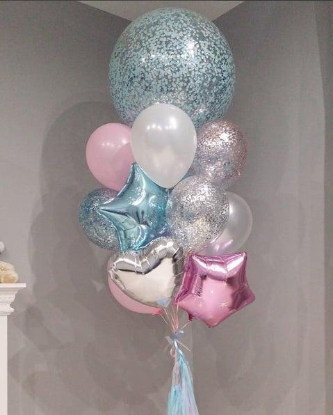 Фонтан из  шаров с конфетти + фольга