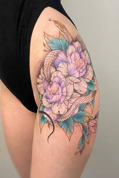 татуировка фотография эскиз для девушек на ноге цветы узор